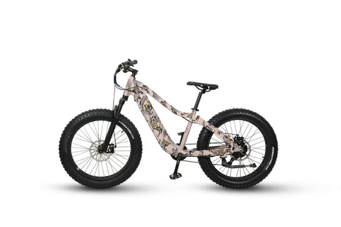 Warrior Electric Bike for Hunting new light colored camo paint job. side profile facing left, on plain white background