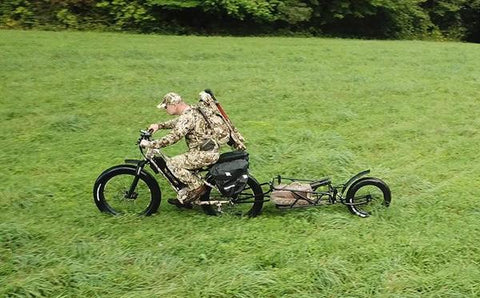 Hunter on Electric Hunting Bike with trailer