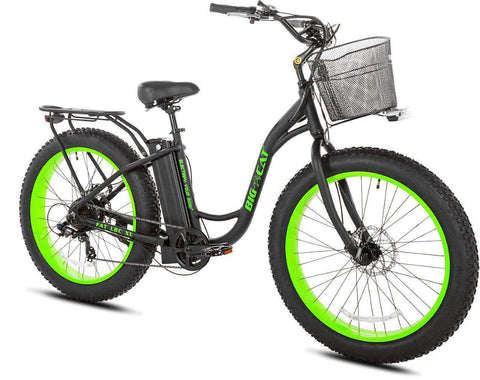 image of Long Beach Cruiser XL 500 facing right black frame with green wheel rims
