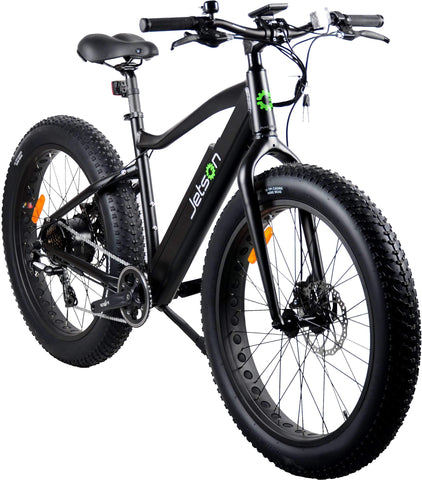 image of Jetson Fat Tire Electric Bike front profile view facing slightly right color black