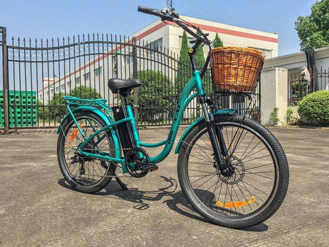 image of Big Cat USA Long Beach Cruiser 500 Electric Bike right side profile color teal