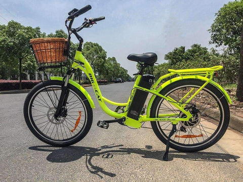 image of Big Cat USA Long Beach Cruiser 500 Electric Bike left side profile color yellow