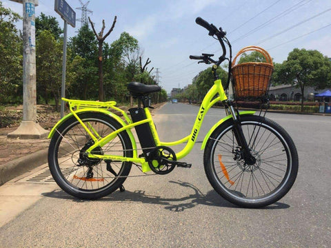 image of Big Cat USA Long Beach Cruiser 500 Electric Bike right side profile color yellow