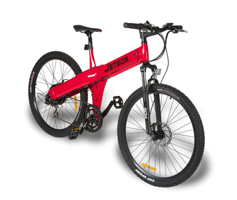image of Jetson MTB Electric Mountain Bike side profile facing right color red