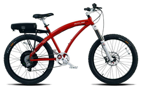 image of Prodecotech Outlaw 1200 V4 Electric Mountain Bike side profile view facing right color red on white
