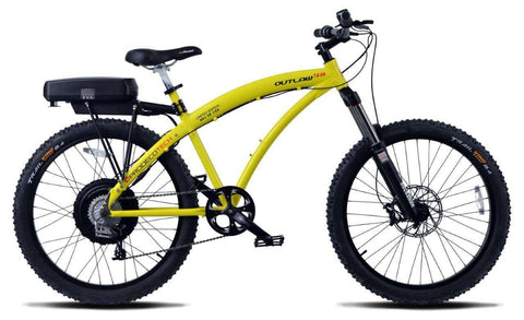 image of Prodecotech Outlaw 1200 V4 Electric Mountain Bike side profile view facing right color yellow on black