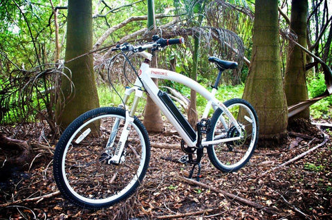 image of Prodecotech Phantom X RS Electric Mountain Bike in the woods color polar white gloss facing left