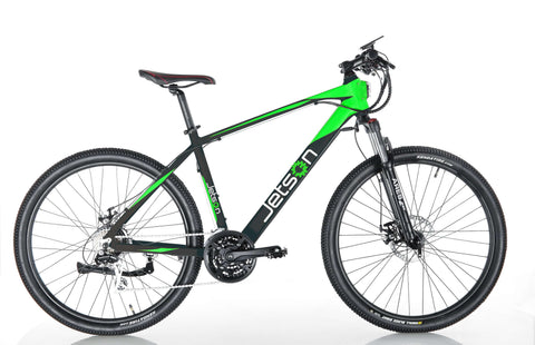 image of Jetson Adventure electric bike side profile facing right, colors black and green