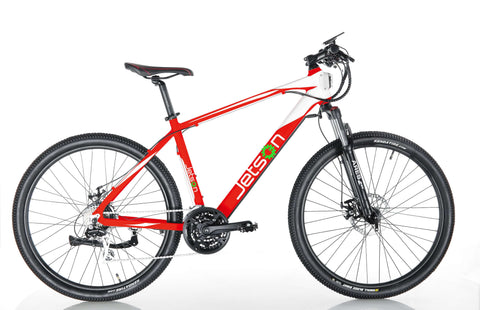 image of Jetson Adventure electric bike side profile facing right, color red