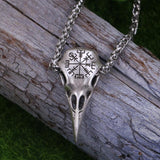 Nordic Vikings Raven Skull Necklace