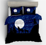 3D black Wolf Bedding Set