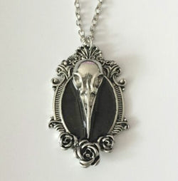 Gothic Rose Raven Bird Skull Pendant Necklace