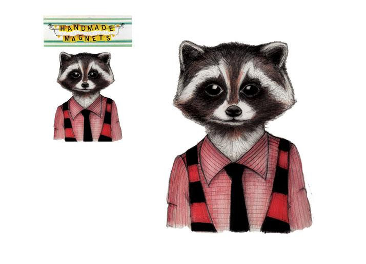 Andrea Hooge Magnet - Friendly Raccoon