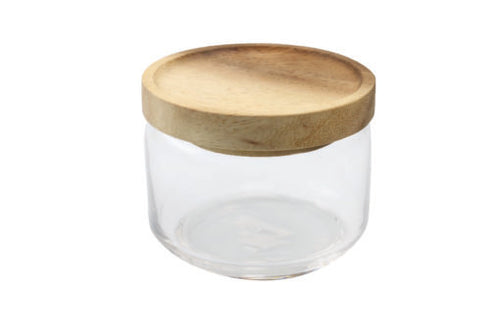 Glass Canister with Acacia Lid, Small