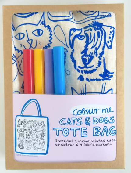 Draw Me A Lion Colour Me Cats & Dogs Tote Bag Kit
