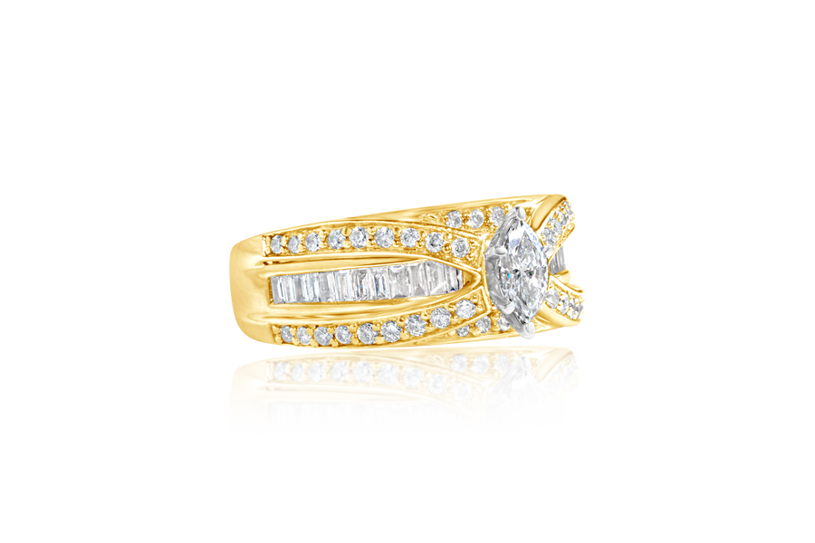 1.0-CTTW Marquise Diamond Ring