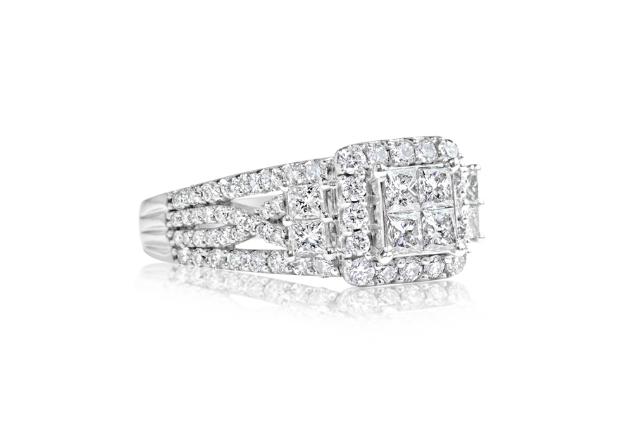 1.70-CTTW Halo Diamond Engagement Ring