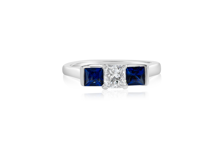 Princess and Blue Sapphire 3-Stone Ring