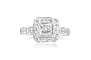 Bezel Set Princess Diamond Engagement Ring