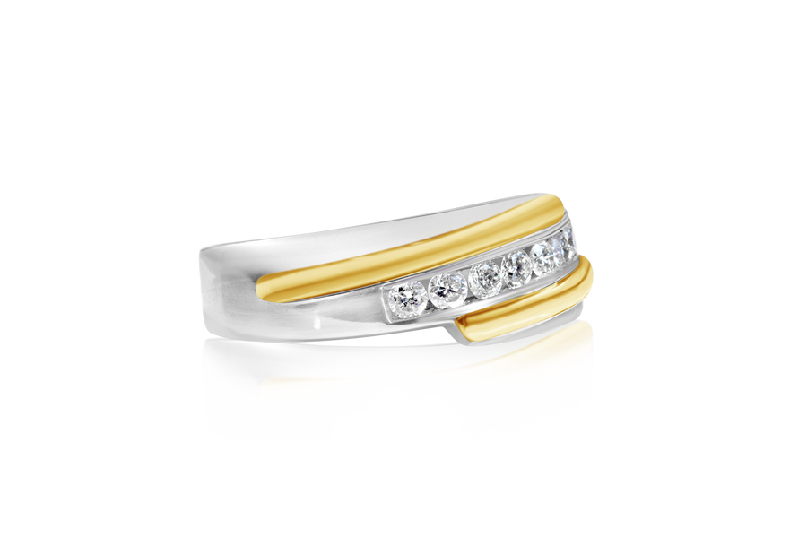 .50-CTTW Two-Tone Mens Wedding Band