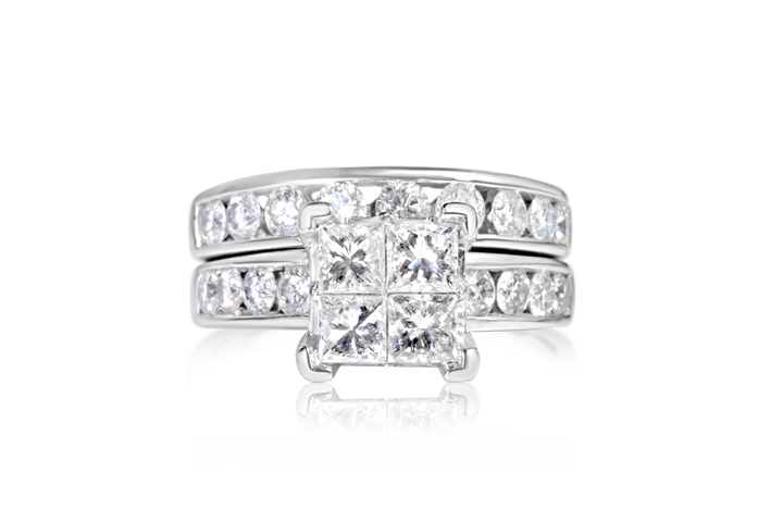 Princess and Round Diamond Bridal Set