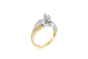 Two-Tone Marquise Diamond Ring