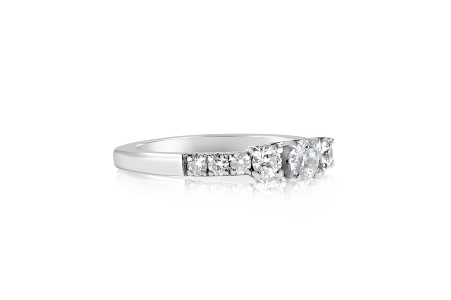 3-Stone Euro Shank Diamond Ring