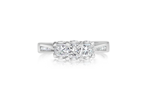 3-Stone Princess Diamond Engagement Ring