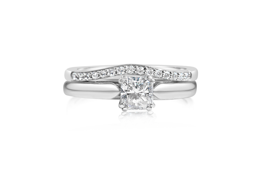 Radiant Cut Princess Diamond Bridal Set
