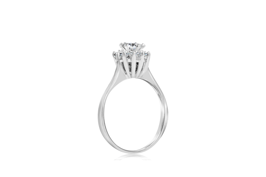 .64-CTTW Round Brilliant Halo Flower Fashion Ring