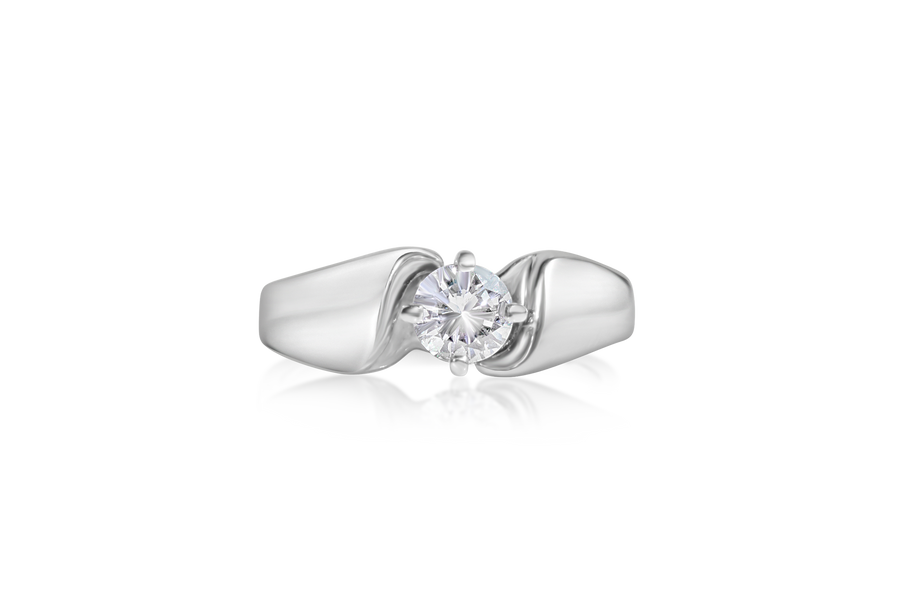 Cathedral Set Round Brilliant Solitaire Engagement Ring