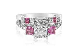 Princess Diamond and Pink Sapphire Bridal Set