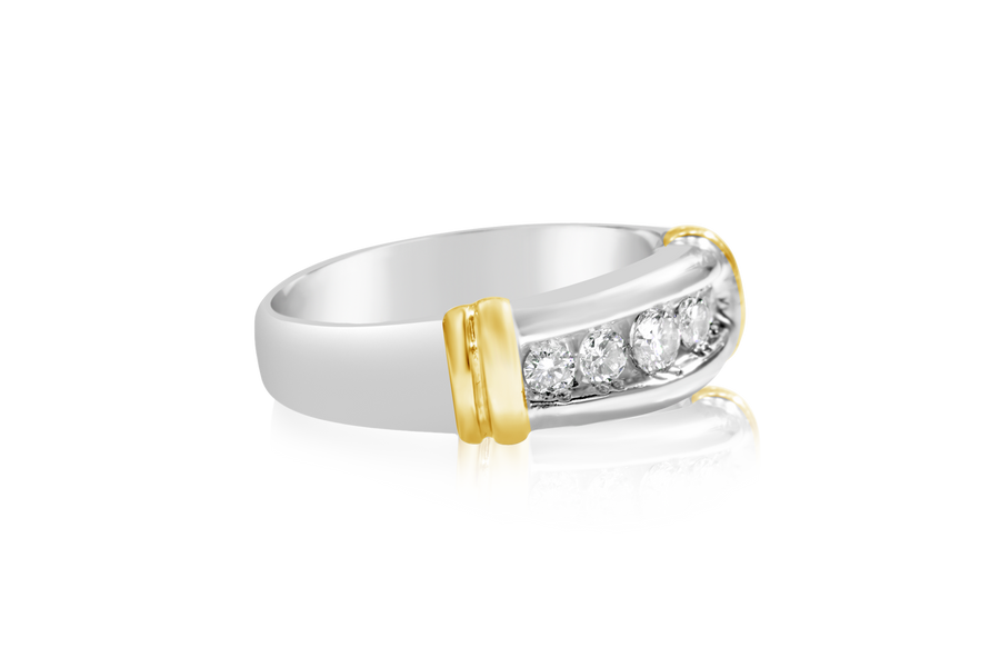 Two-Tone Diamond Mens Ring