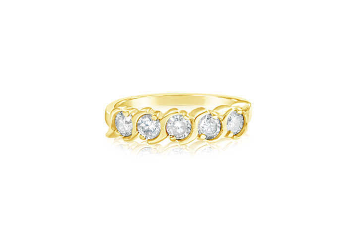 Bezel Set Round Brilliants Diamond Ring