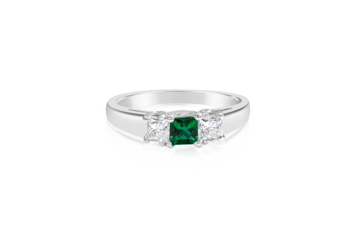 Emerald and Diamond 3-Stone Engagement Ring