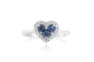 "Sapphire and Diamond ""Heart"" Ring"