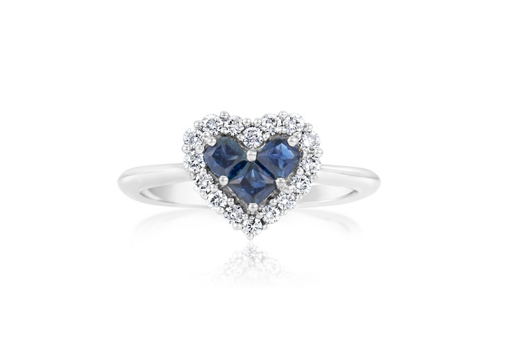 "Sapphire and Diamond ""Heart"" Fashion Ring"