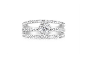 Triple Split-Shank Pavé Diamond Fashion Ring