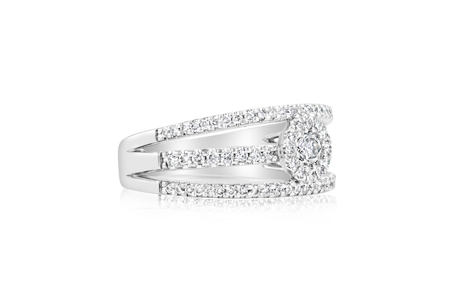 Triple Split-Shank Pavé Diamond Ring