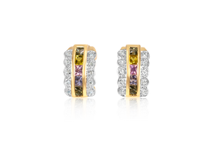 Multi-Colored Princess Sapphire Earrings