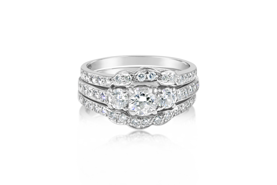 1.33-CTTW 3-Stone Diamond Bridal Set