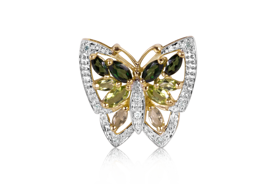 Emerald, Peridot, and Citrine Butterfly Pendant
