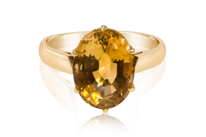 Cathedral Set Oval Citrine Solitaire