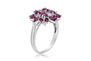 Amethyst Flower Fashion Ring