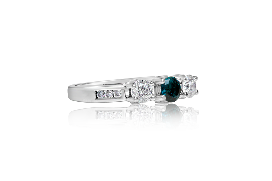 Blue Diamond 3-Stone Engagement Ring