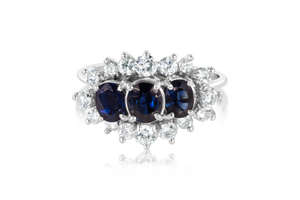 3-Stone Natural Sapphire Ring
