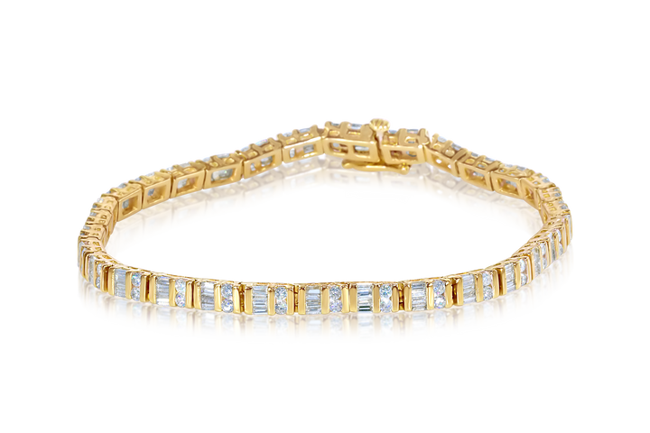 Round and Baguette Diamond Tennis Bracelet