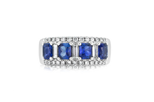 DIAMOND AND SAPPHIRE FASHION BAND