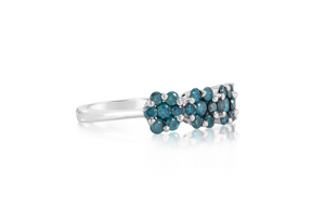 "Blue Diamond ""Flowers"" Ring"