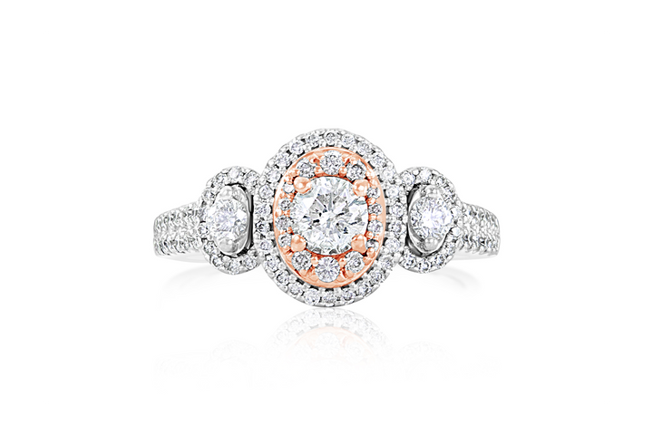 3-Stone Halo Diamond Engagement Ring